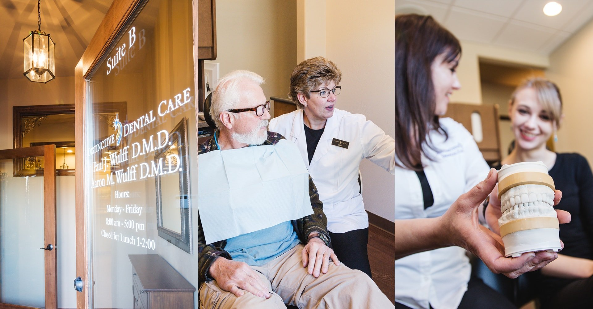 A collage of photos showing real patients of top dentist in Prescott, AZ at Distinctive Dentistry in Prescott, AZ